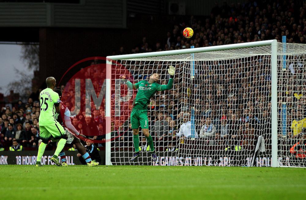 Manchester City's Joe Hart watches the ball go over the bar - Mandatory byline: Robbie Stephenson/JMP - 07966 386802 - 08/11/2015 - FOOTBALL - Villa Park - Birmingham, England - Aston Villa v Manchester City - Barclays Premier League