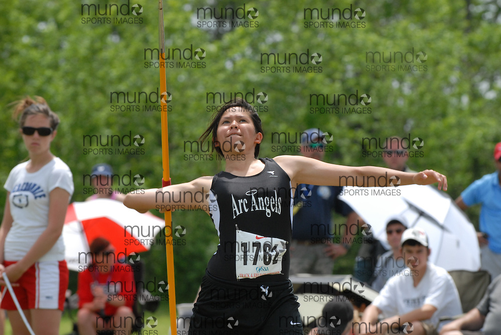 Hamilton, Ontario ---07/06/08--- Dianne Fonseca of St. Joan of Arc in Mississauga competes in the javelin at the 2008 OFSAA Track and Field meet in Hamilton, Ontario..Mark Butterwick