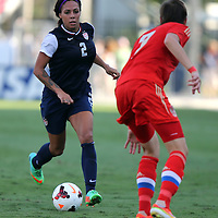 U.S. forward Sydney Leroux (2) dribbles during an international friendly soccer match between the United States Women's National soccer team and the Russia National soccer team at FAU Stadium on Saturday, February 8, in Boca Raton, Florida. The U.S. won the match by a score of 7-0. (AP Photo/Alex Menendez)