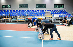 Workers during Day 3 of the tennis matches between Slovenia and Monaco of 2017 Davis Cup Europe/Africa Zone Group II, on February 5, 2017 in Tennis Arena Tabor, Maribor Slovenia. Photo by Vid Ponikvar / Sportida