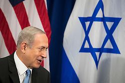 (L to R) Prime Minister of Israel Benjamin Netanyahu speaks to U.S. President Barack Obama meet during a bilateral meeting at the Lotte New York Palace Hotel, September 21, 2016 in New York City. Last week, Israel and the United States agreed to a $38 billion, 10-year aid package for Israel. Obama is expected to discuss the need for a 'two-state solution' for the Israeli-Palestinian conflict. Photo by Drew Angerer/Pool/ABACAPRESS.COM)
