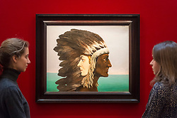 "© Licensed to London News Pictures. 20/02/2019. LONDON, UK. Staff members view ""L'Étoile du matin"", 1938, by René Magritte, (Est. £3.5-4.5m). Preview of Sotheby's Impressionist & Modern and Surrealist Art sales.  The auction will take place at Sotheby's New Bond Street on 26 February 2019.  Photo credit: Stephen Chung/LNP"