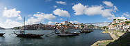 Port Wine Boats in Douro River Panoramic, Vila Nova de Gaia, Portugal