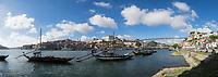 Port Wine Boats in Douro River Panoramic, Vila Nova de Gaia, Portugal