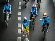 16 AUGUST 2015 - BANGKOK, THAILAND: Bicyclists in Bangkok participate in the ''Ride For Mom'' on Phayathai Road. More than 100,000 people across Thailand participated in the Bike For Mom event in honor of Queen Sirikit, who celebrated her 83rd birthday August 12. In Bangkok, the ride was led by His Royal Highness Crown Prince Maha Vajiralongkorn, the Crown Prince of Thailand and Sirikit's only son. Queen Sirikit, who is in poor health and living in a hospital, was unable to attend the bike ride.     PHOTO BY JACK KURTZ