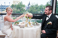 The newlyweds toast at the Renaissance Hotel in Pittsburgh PA