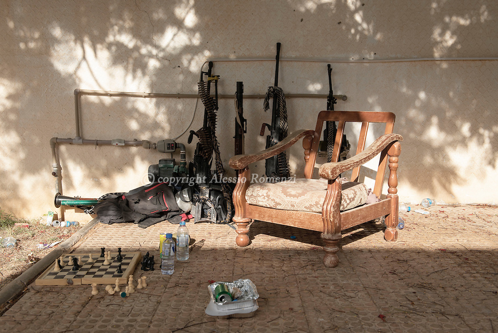 Libya: fighters affiliated with Libya's Government of National Accord's (GNA) use to play chess as they relax on the frontline with ISIS in Sirte, Alessio Romenzi