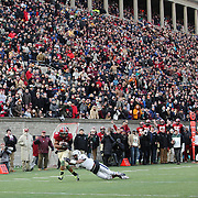 Andrew Fischer, Harvard, catches a 35-yard touchdown pass from Conner Hempel while defended by Dale Harris, Yale, for the winning touchdown with 55 seconds to play as Harvard beat Yale 31-24 to capture the Ivy League title outright during the Harvard Vs Yale, College Football, Ivy League deciding game, Harvard Stadium, Boston, Massachusetts, USA. 22nd November 2014. Photo Tim Clayton