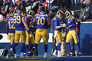Dec 30, 2018; Los Angeles, CA, USA; Los Angeles Rams wide receiver Josh Reynolds (83) celebrates scoring a touchdown with Los Angeles Rams quarterback Jared Goff (16) and teammates at Los Angeles Memorial Coliseum. The Rams defeated the 49ers 48-31.  (Robin Alam/Image of Sport)