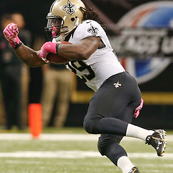 Oct 5, 2014; New Orleans, LA, USA; New Orleans Saints running back Khiry Robinson (29) against the Tampa Bay Buccaneers during the first quarter of a game at Mercedes-Benz Superdome. Mandatory Credit: Derick E. Hingle-USA TODAY Sports
