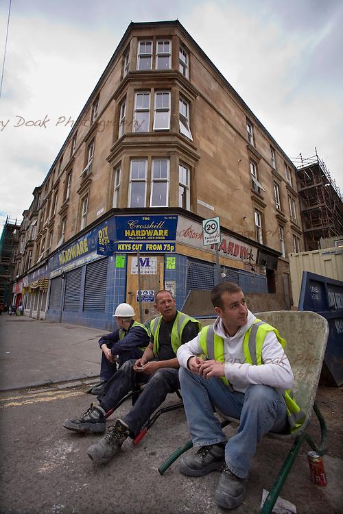 Glasgow Housing Association improvements in Govanhill, Glasgow. Building work in progress, Allison Street.