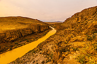 Rio Grande River (which is the border between the U.S. and Mexico, Mexico on left side of river), Big Bend National Park, Texas USA.