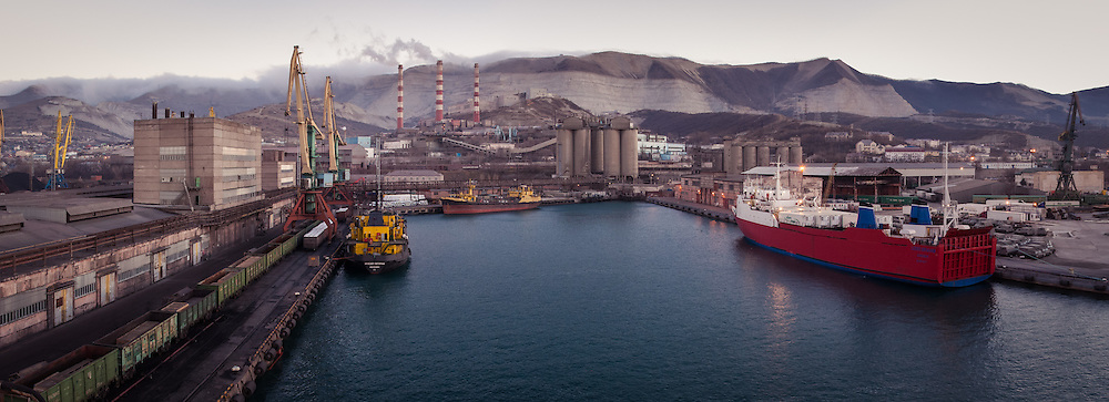 Industrial scene. A panorama of the Russian Black Sea port of Novorossiysk