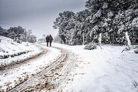 Pessoas caminhando em estrada de terra coberta de neve.  Urubici, Santa Catarina, Brasil. / <br /> People walking on a dirt road covered by snow.  Urubici, Santa Catarina, Brazil.