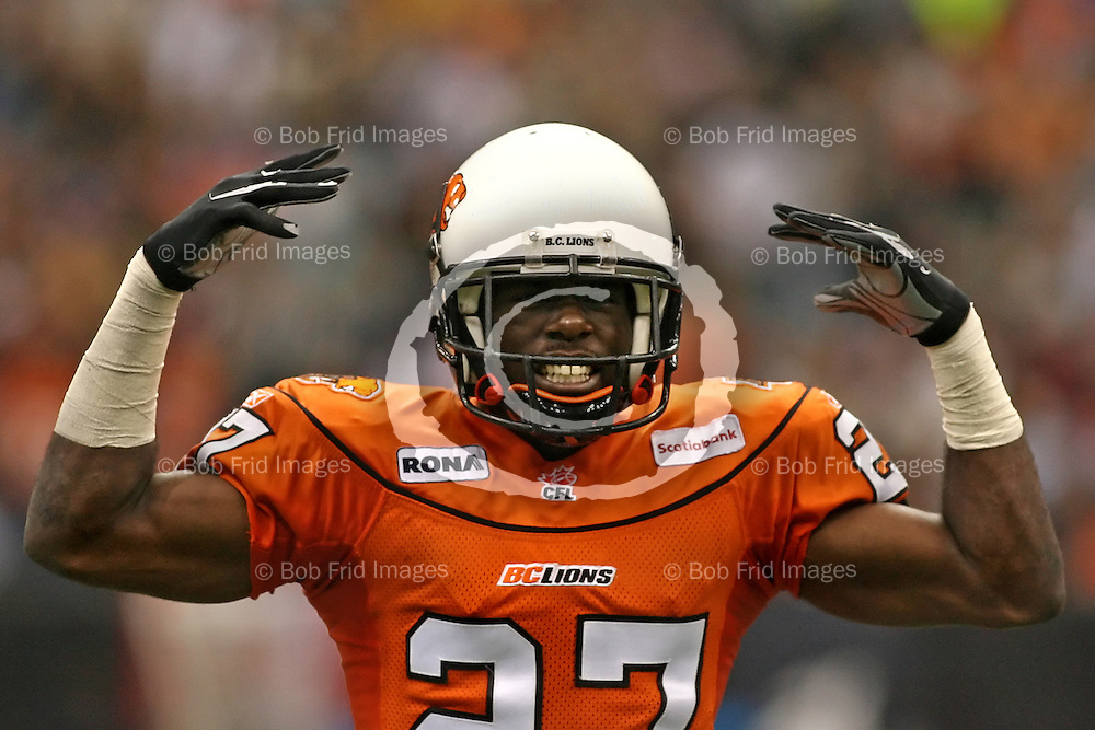BC Lions' Defensive Back Lavar Glover (no.27) // August 10, 2007 - BC Lions Vs Winnipeg Blue Bombers -- Canadian Football League -- 7:30pm -- BC Place Stadium, Vancouver, BC //.  .Bob Frid 2007.All Rights Reserved.778-834-2455 .bob.frid@freemotionphotography.ca.www.freemotionphotography.caAugust 10, 2007 - BC Lions Vs Winnipeg Blue Bombers -- Canadian Football League -- 7:30pm -- BC Place Stadium, Vancouver, BC // Winnipeg defeated the Lions 22-21  //.  .Bob Frid 2007.All Rights Reserved.778-834-2455 .bob.frid@freemotionphotography.ca.www.freemotionphotography.ca