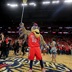 Apr 21, 2018; New Orleans, LA, USA; New Orleans Pelicans mascot holds a broom in the air following a win against the Portland Trail Blazers to sweep the the first round of the 2018 NBA Playoffs at the Smoothie King Center.  Pelicans defeated the Trail Blazers 131-123 sweeping the series and advancing to the western conference semi-finals.  Mandatory Credit: Derick E. Hingle-USA TODAY Sports