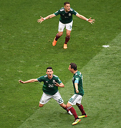 MOSCOW, June 17, 2018  Hirving Lozano (L bottom) of Mexico celebrates his scoring during a group F match between Germany and Mexico at the 2018 FIFA World Cup in Moscow, Russia, June 17, 2018. (Credit Image: © Wang Yuguo/Xinhua via ZUMA Wire)