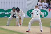 Callum Parkinson bowling to Tom Smith during the Specsavers County Champ Div 2 match between Gloucestershire County Cricket Club and Leicestershire County Cricket Club at the Cheltenham College Ground, Cheltenham, United Kingdom on 16 July 2019.