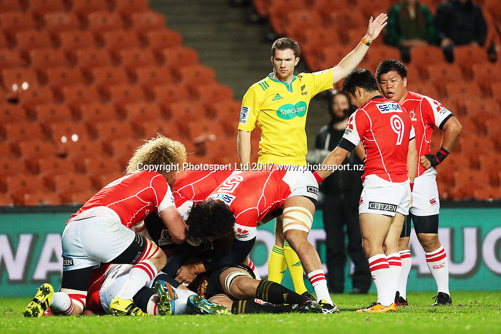Match Referee Will Houston awards a penalty to the Sunwolves during the Super Rugby rugby match - Chiefs v Sunwolves played at FMG Stadium Waikato, Hamilton, New Zealand on Saturday 29 April 2017.  Copyright photo: Bruce Lim / www.photosport.nz