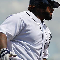 March 14, 2012; Lakeland, FL, USA; Detroit Tigers first baseman Prince Fielder (28) runs the bases after hitting a two run homerun against the New York Mets during a spring training game at Joker Marchant Stadium. Mandatory Credit: Derick E. Hingle-US PRESSWIRE