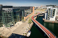 A view of Copenhagen city as the Cykelslangen passes through sky-rise buildings.