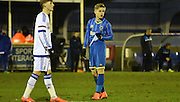 Nathan Wood waits for the ball during the FA Youth Cup match between U18 AFC Wimbledon and U18 Chelsea at the Cherry Red Records Stadium, Kingston, England on 9 February 2016. Photo by Michael Hulf.