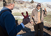 Sheepherder Toribio Yucra, right, speaks with farmer Chad Edgington before tagging sheep at the ACE Land and Livestock sheep farm outside Morgan, Tuesday, Nov. 13, 2012.