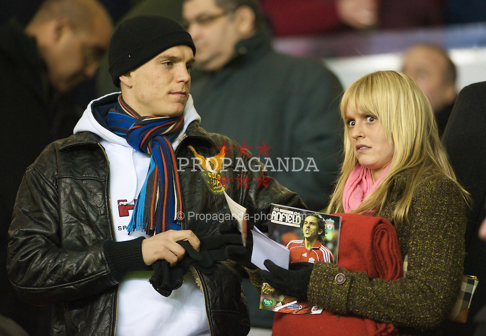 LIVERPOOL, ENGLAND - Wednesday, March 5, 2008: Liverpool's Daniel Agger and his girlfriend during the Premiership match at Anfield. (Photo by David Rawcliffe/Propaganda)