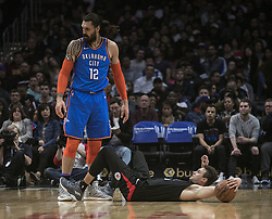 March 8, 2019 - Los Angeles, California, United States of America - Danilo Gallinari #8 of the Los Angeles Clippers is fouled by Steven Adams #12 of the Oklahoma Thunder during their NBA game on Friday March 8, 2019 at the Staples Center in Los Angeles, California. Clippers defeat Thunder, 118-110.  JAVIER ROJAS/PI (Credit Image: © Prensa Internacional via ZUMA Wire)
