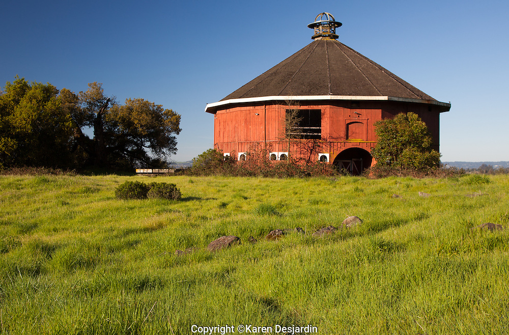 The Fountaingrove Round Barn, built in 1899, is a local landmark in northeast Santa Rosa, California.