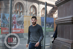 Manchester UK 29.09.2017  Chestefield Footballer Ched Evans seen  out in Manchester City centre this afternoon where  he met a  man  in Cafe Nero and stayed for about half an hour  and then left.<br /> <br /> Evans was recently cleared of rape.