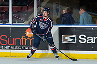KELOWNA, CANADA - JANUARY 3: Anthony Bishop #7 of the Tri-City Americans looks for the pass against the Kelowna Rockets on January 3, 2017 at Prospera Place in Kelowna, British Columbia, Canada.  (Photo by Marissa Baecker/Shoot the Breeze)  *** Local Caption ***