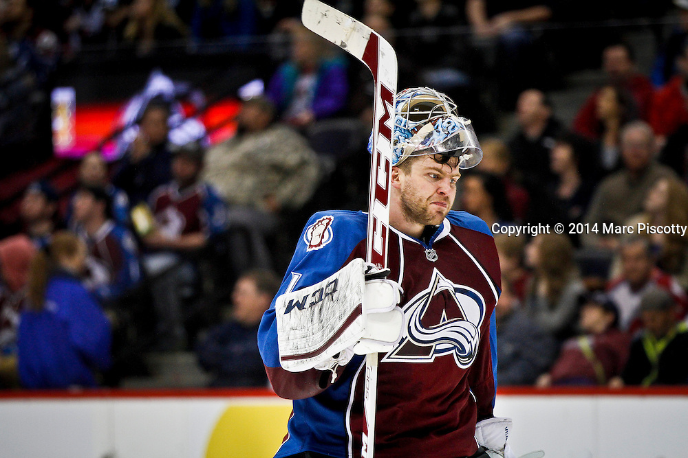 SHOT 3/8/14 4:30:38 PM - Colorado Avalanche goaltender Semyon Varlamov #1 takes the ice against the St. Louis Blues during their regular season Western Conference game at the Pepsi Center in Denver, Co. The Blues won the game 2-1.<br /> (Photo by Marc Piscotty / &copy; 2014)