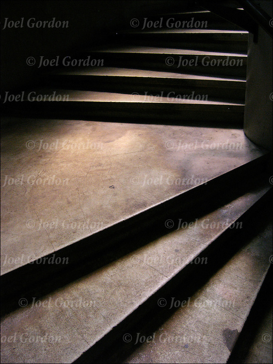 Interior stairways of Jefferson Library in Green Village, stairs or step leading up, dimly lite, moody.<br />