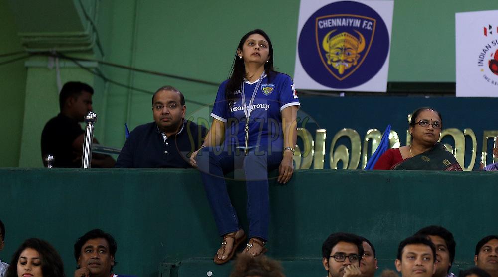 Mrs.Vita Dani co owner of chennaiyin FC during match 50 of the Hero Indian Super League between Chennaiyin FC and FC Goa held at the Jawaharlal Nehru Stadium, Chennai, India on the 5th December 2014.<br /> <br /> Photo by:  Sandeep Shetty/ ISL/ SPORTZPICS