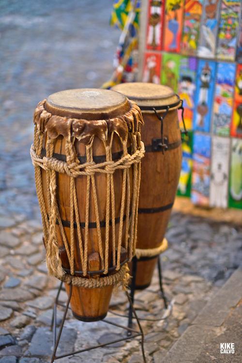 Traditional drums called Atabaque. Pelorinho historical area, Salvador de Bahia, Bahia State, Brazil