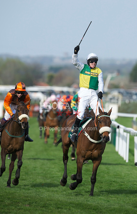 LIVERPOOL, ENGLAND, Saturday, April 9, 2011: Jason Maguire riding Ballabriggs celebrates as he cross the line to win the 2011 Grand National during Day Three of the Aintree Grand National Festival at Aintree Racecourse. (Photo by David Rawcliffe/Propaganda)
