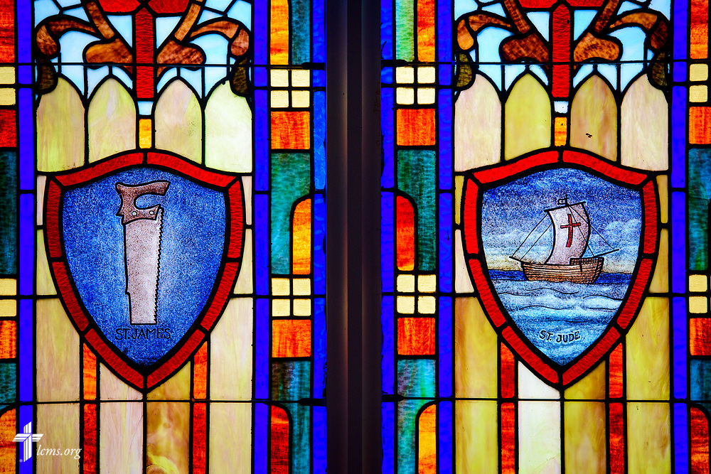 Stained glass depicting St. Jute and St. James at St. Paul Lutheran Church, San Antonio, Texas on Wednesday, Aug. 2, 2017, in San Antonio. LCMS Communications/Erik M. Lunsford