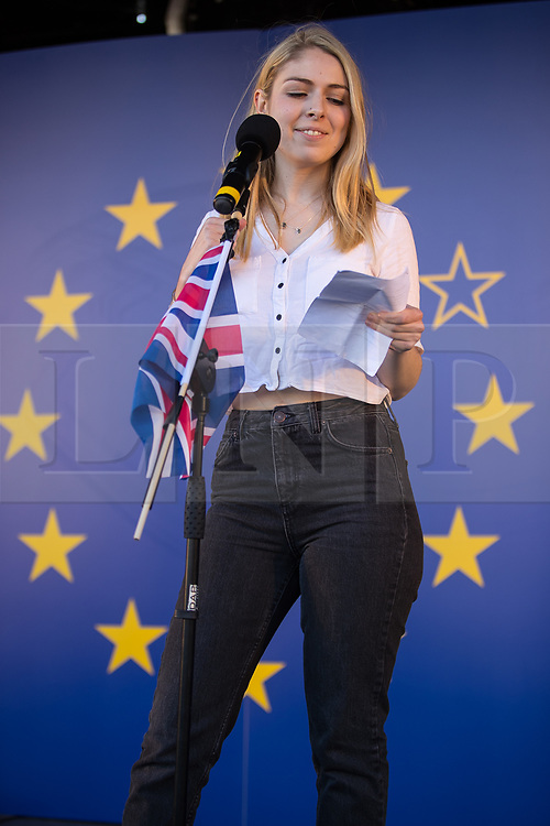 © Licensed to London News Pictures . 25/03/2017 . London , UK . ELIN SMITH speaks for Students for EU . A Unite for Europe anti Brexit march through central London , from Park Lane to Westminster . Protesters are campaigning ahead of the British government triggering Article 50 of the Lisbon Treaty which will initiate Britain's withdrawal from the European Union . Photo credit : Joel Goodman/LNP