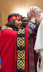 Pope Francis met with a group representing indigenous peoples on February 15, 2017 at the Vatican, speaking to them about the need to &