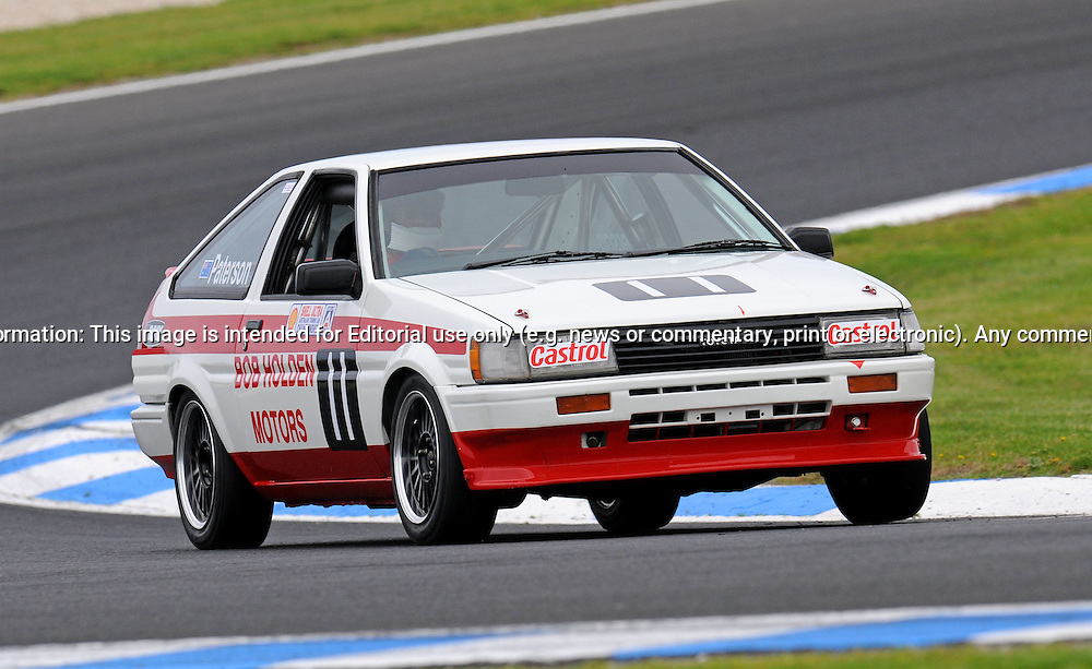 David Paterson -Toyota Corolla - Group A.Historic Motorsport Racing - Phillip Island Classic.18th March 2011.Phillip Island Racetrack, Phillip Island, Victoria.(C) Joel Strickland Photographics.Use information: This image is intended for Editorial use only (e.g. news or commentary, print or electronic). Any commercial or promotional use requires additional clearance.