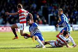 Liam Donnelly of Hartlepool United tackles John Marquis of Doncaster Rovers - Mandatory by-line: Robbie Stephenson/JMP - 06/05/2017 - FOOTBALL - The Northern Gas and Power Stadium (Victoria Park) - Hartlepool, England - Hartlepool United v Doncaster Rovers - Sky Bet League Two