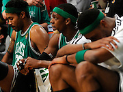 (L-R) Rasheed Wallace, Rajon Rondo and Paul Pierce in the final minutes are beaten, bloodied and tired. The Lakers defeated the Boston Celtics in game 6 of the NBA Finals 89-67. Los Angeles, CA 06/15/2010 (John McCoy/Staff Photographer).