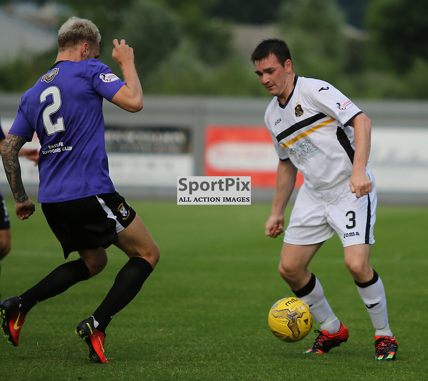 Mark Docheryy tries to take on East Fife defence during the Dumbarton v East Fife Scottish League Cup group stage 19 July 2016<br /> <br /> (c) Andy Scott | SportPix.org.uk