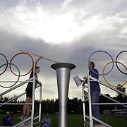 Opening gehandicapten spelen AV Zuidwal Huizen, het olympische vuur word onstoken