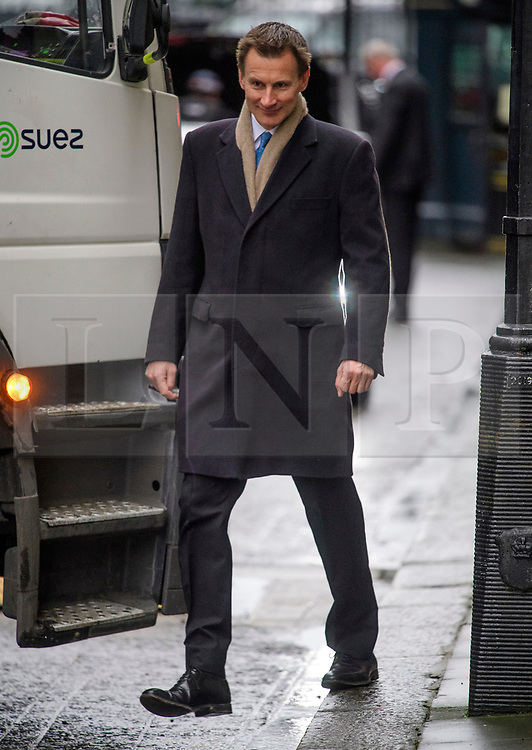 © Licensed to London News Pictures. 08/03/2017. London, UK. Health secretary JEREMY HUNT arrives on Downing Street for a cabinet meeting before British chancellor Philip Hammond delivers his 2017 Budget to Parliament. Photo credit: Ben Cawthra/LNP