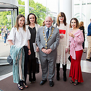 11.05. 2017.                                                 <br /> Over 20 leading Irish and international fashion media and influencers converged on Limerick for 24 hours on, Thursday, 11th May for a showcase of Limerick's fashion industry, culminating with Limerick School of Art & Design, LIT, presenting the LSAD 360° Fashion Show, sponsored by AIB.<br /> Pictured at the event were, Cllr. Kieran O'Hanlon, Mayor of Limerick City with LSAD graduates, Grainne Glynn, Louise Lawlor, Kelly McLoughlin and Eden Curtis. Picture: Alan Place