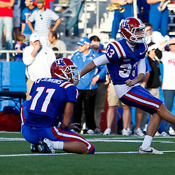 December 4, 2010; Ruston, LA, USA;  Louisiana Tech Bulldogs kicker Matt Nelson (33) against the Nevada Wolf Pack during the second half at Joe Aillet Stadium.  Nevada defeated Louisiana Tech 35-17. Mandatory Credit: Derick E. Hingle