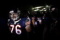 11 December 2008: Tackle (76) John Tait of the Chicago Bears enters the field before the Bears 27-24 overtime victory over the New Orleans Saints at Soldier Field in Chicago, IL.