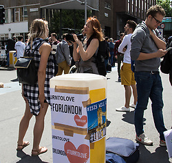 "London, June 4th 2017. Posters urge ""Turn to love #ForLondon during a massive policing operation in the aftermath of the terror attack on London Bridge and Borough Market on the night of June 3rd which left seven people dead and dozens injured"